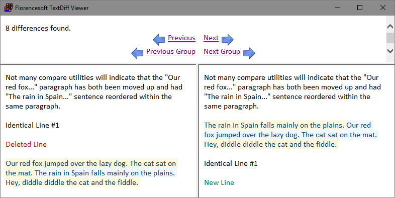 detection of paragraphs, lines, sentences, words, characters being moved around in a document