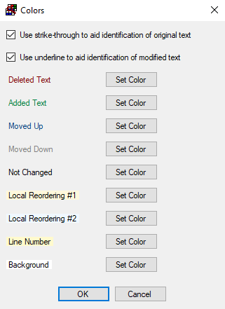 Colors Used To Highlight Text Differences